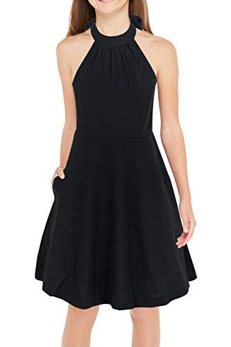 GORLYA Girl's Halter Neck Cold Shoulder Sleeveless Summer Casual Sundress A-line Dress with Pockets for 4-12 Years (GOR1013, 13-14Y, Black)