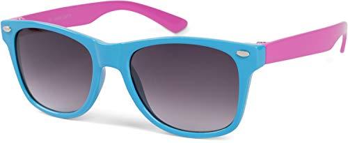 styleBREAKER Kinder Nerd Sonnenbrille mit Kunststoff Rahmen und Polycarbonat Gläsern, klassiches Retro Design 09020056, Farbe:Gestell Hellblau-Pink/Glas Grau Verlauf