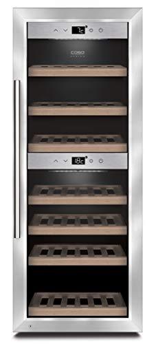 CASO WineComfort 38 Design Weinkühlschrank für bis zu 38 Flaschen (bis zu 310 mm Höhe), zwei Temperaturzonen 5-20°C, Getränkekühlschrank, Energieklasse A