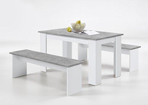 Slumberhaus German Dorma Kitchen Dining Table and 2 Bench Set White Concrete