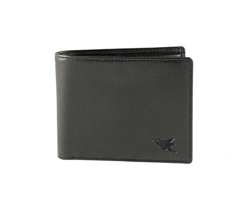 Ledergeldbörse & Portemonnaie von Nomalite | RFID-Abschirmung, 4 Kartenfächer & 2 Fächer für Banknoten. Travel Wallet (schwarz Leder) / Geldbörse im Querformat für Herren & Damen.