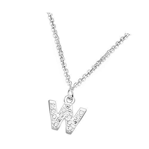 S925 - Collar de cadena de cristal con letra inglesa con 26 iniciales para mujeres y niñas