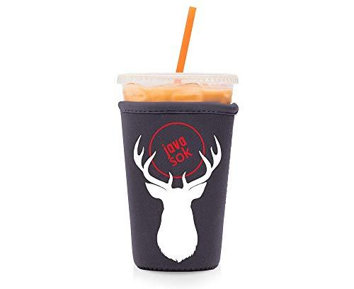 Java Sok Wiederverwendbare Isolierhülle für Eiskaffeetassen, für kalte Getränke und Neopren-Halterung für Starbucks Kaffee, McDonalds, Dunkin Donuts, mehr (violetter Hirsch, 625-800 ml), mittelgroß