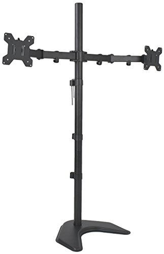 VIVO Dual Monitor Free-Standing Stand up Desk Mount, Extra Tall 40 inch Pole, Height Adjustable, Fits up to 27 inch Screens (STAND-V012F)