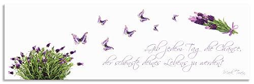 Artland Spritzschutz Küche aus Alu für Herd Spüle 180x55 cm Küchenrückwand mit Motiv Spruch Schmetterlinge Lavendel Landhaus Hell Weiß Lila J6DH