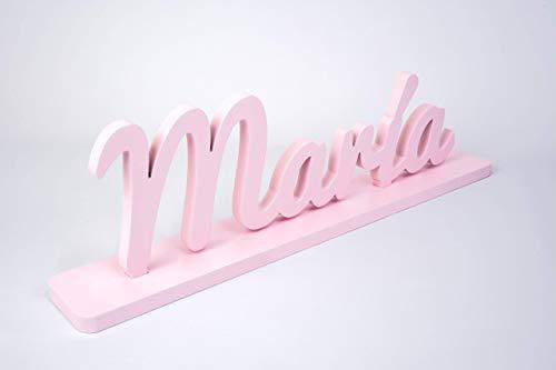Nombre de madera personalizado letras decorativas para decoración con base para nombres largos