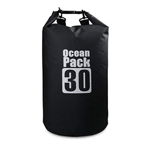 Bolsa Impermeable Seco Piscina Mochila 30l con Correa Ajustable para El Kayak Canotaje Deriva Negro