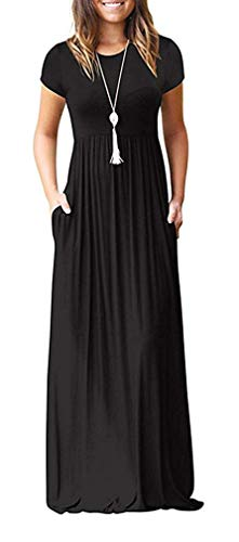 VIISHOW Women's Short Sleeve Loose Plain Maxi Dresses Casual Long Dresses with Pockets(Black, X-Large)