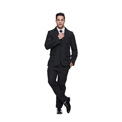 MY'S Men's 3 Piece Slim Fit Suit Set, 2 Button Blazer Jacket Vest Pants with Tie, Solid Wedding Dress Tux and Trousers Beige