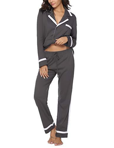 Hawiton Pijamas Mujer Invierno de Algodón Mangas Larga Conjunto Camiseta y Pantalones Largo Ropa de Casa 2 Piezas