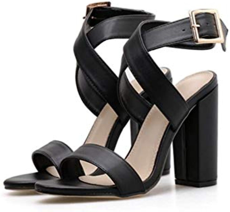 JQfashion Women's High-Heeled Sandals Roman shoes Sexy Cross Thick Heel