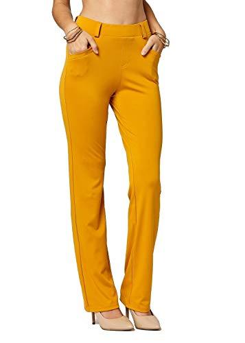 Conceited Premium Pantalones de Vestir elásticos para Mujer – Slim o Bootcut – Comodidad Todo el día en sólidos y Rayas Finas, Bootcut Mustard, M
