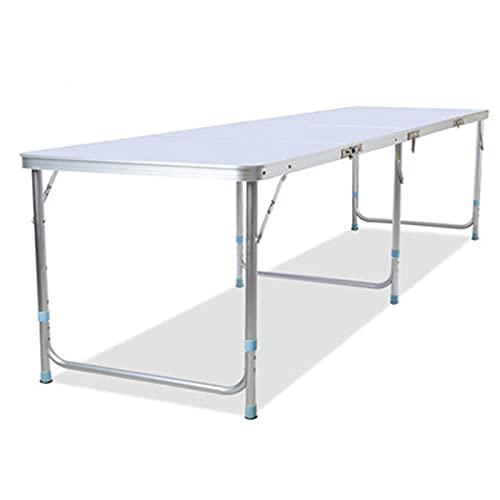 Mesa plegable multifuncional portátil, mesa de picnic plegable de aluminio para exteriores con altura ajustable, mesa de jardín plegable ultralarga de 2,4 m, mesa portátil para acampar y picnic