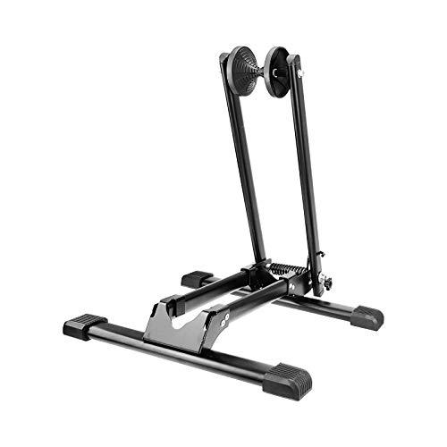 WELLGRO Fahrradständer - für Vorderrad oder Hinterrad, Stahl, schwarz, platzsparend zusammenklappbar