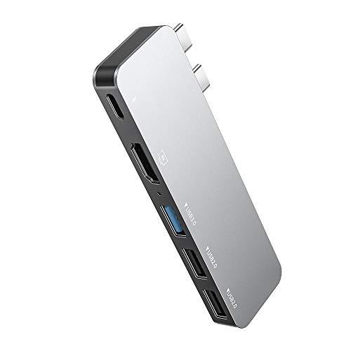 Hub USB C 5 en 1, Adaptador de concentrador Tipo C de Aluminio multipuerto, con Salida HDMI 4K, Thunderbolt 3, Puertos USB 3.0/2 x 2.0, para MacBook Pro