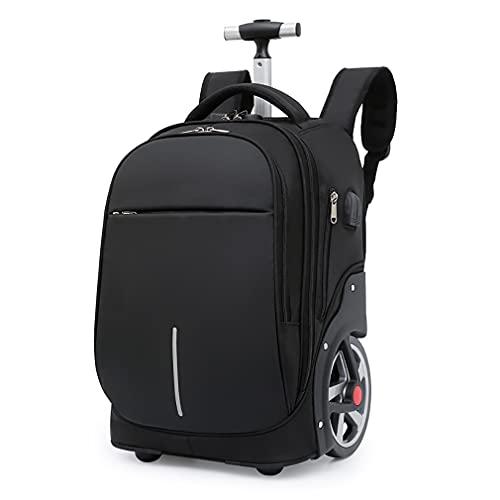 CattleBi Zaino trolley viaggio borsa pc 15,6 pollici, 40 litri, borsa da viaggio con 18cm ruote possono salire le scale, portabiti e porta PC (Nero, 32 x 25 x 48 cm)