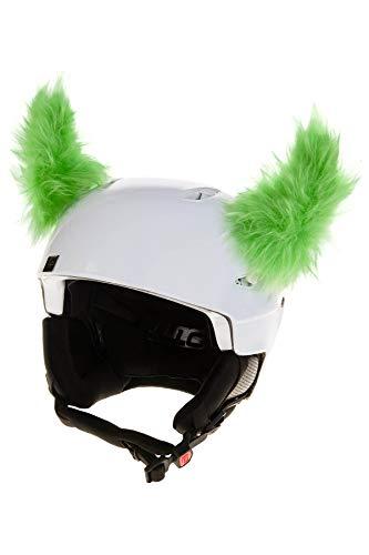Crazy Ears Schwarze Haarige Hörner | Helmmütze Helm-Ohren Helm Aufkleber | Fell-Hörner, CrazyEars:Grüne Hörner