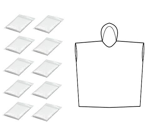 Thorani Poncho de Lluvia Transparente de 140-190 cm - Ligero, Compacto, Impermeable | Protege contra el Viento y la Humedad | para el Alpinismo, Senderismo y Festivales - 10 Piezas
