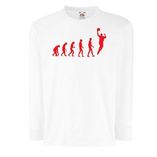 Camisetas de Manga Larga para Niño evolución de Baloncesto - Canasta de la Calle, me Encanta Este Juego, Gran Fan de Regalo (14-15 Years Blanco Rojo)