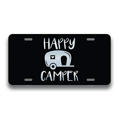 JMM Industries Happy Camper Vanity Novelty License Plate Tag Metal Car Truck 6-Inches by 12-Inches Etched Metal UV Resistant ELP150