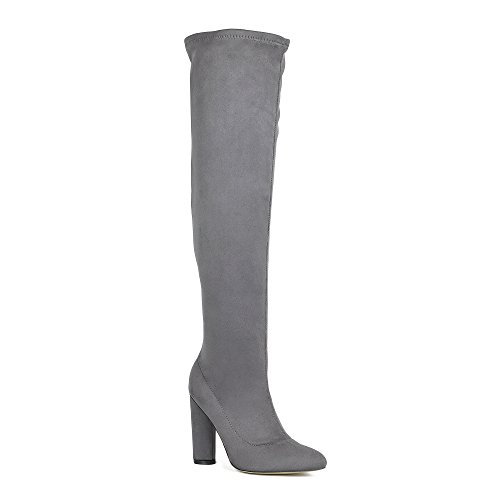 ShoBeautiful Women's Over The Knee Boots Fashion High Cylinder Heel Thigh High Boots Grey 8