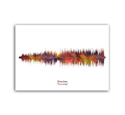 LAB NO 4 Elton John Your Song Soundwave Print Music Lyrics Poster in A4 Size