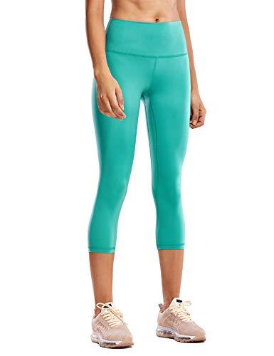 CRZ YOGA Mujer Deportivos Leggings Capri Pantalones Elastico para Yoga Pilates - 53cm Verde Azulado - 53cm 44