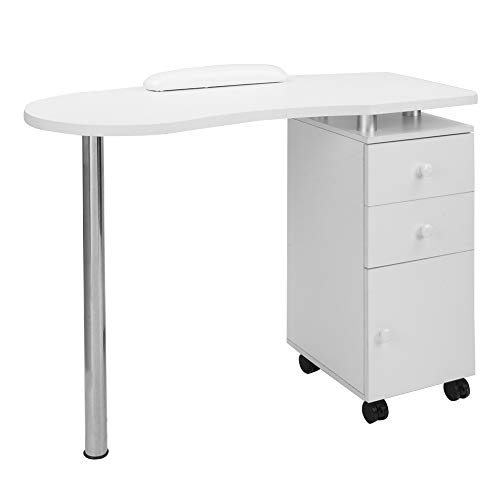 Mefeir Manicure Table Nail Desk with Single Cabinet on Wheels & Wrist Rest, Beauty Spa Salon Wooden Technician Workstation, White