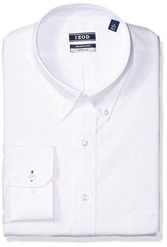 IZOD Men's FIT Dress Shirts Stretch Solid (Big and Tall), White, 19' Neck 34'-35' Sleeve
