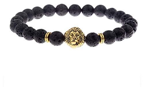 Pulsera de piedra Mujer, 7 chakra piedras naturales perlas Volcánico Lava Brazalete Elástico Golden Lion Animal Joyería Yoga Pulseras Esenciales Oleo Difusor Difusor de hombres Regalo Pulsera de chakr