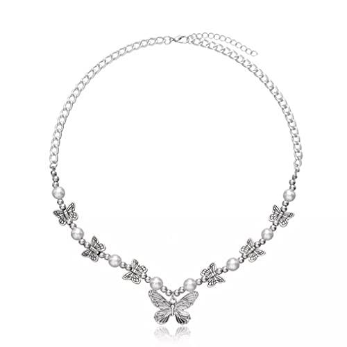 N/A Colgante de Collar de Mujer Collar con Colgante de Mariposa gótica de Moda para Mujer,Collar dePlata,Collar Llamativo, joyería de Verano, Regalos de Playa