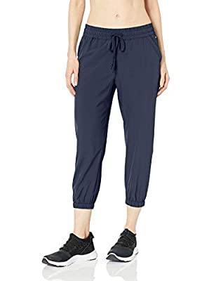 Amazon Essentials Women's Studio Woven Stretch Crop Jogger Pant, Navy, Medium