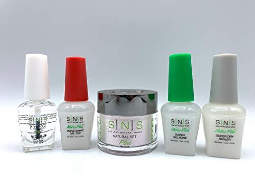 SNS Gel Base Top EA Bond Sealer Dry Coat Natural Healthy Plus Set for Do It Yourself Home Nails Starter Kit Dipping Powder Gelous (Natural Set)