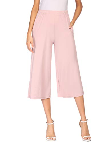 Parabler Damen Hose Elastische Taille Hose 7/8 Einfarbig Sommerhose Freizeithosen Weite geschnittene Hose mit Seitentaschen Rosa M