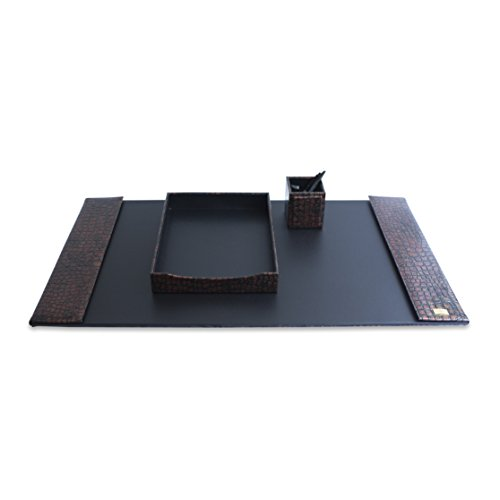 CORDAYS - Set da scrivania con 3 Pezzi di Massima qualità Fatto a Mano in Pelle Sintetica - Colore Marrone. CDM-00050