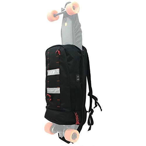 Hubro Designs Boosted Board Longboard Backpack - 20L Backpack with Electric Skateboard Carry Panel.