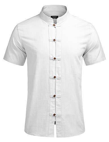 COOFANDY Herren Kurzarmshirt Hemd Leinenshirt aus Baumwollmischung Regular Fit Kurze Kragen Freizeit Leicht Sommer Leinenhemd für Männer