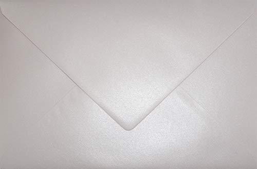 25 Perlmutt-Hell-Rosa DIN C5 Briefumschläge 162x229 mm Aster Metallic Candy Pink Spitzklappe Perlmutt-Glanz-Umschläge Perlglanz große Kuverts für Hochzeits-Einladungen Danksagungskarten