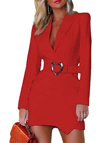 Onsoyours Damen Blazer Kleid Frauen Elegant Langarm V-Ausschnitt Zweireihig Solide Hemdkleid Business Slim Fit Lange Hülse Büro Jacken Knopf Anzug Mantelkleid B Rot 40