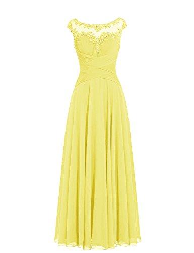 DRESSTELLS Damen Lange Chiffon Ballkleider Brautjungfernkleider Abendkleider Gelb Größe 36