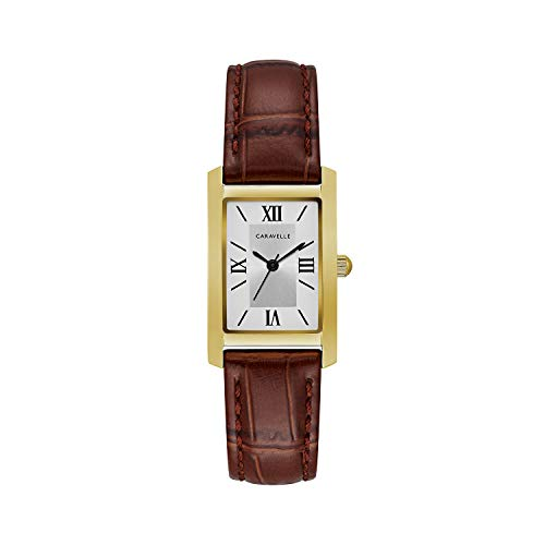 Caravelle Designed by Bulova Women's Stainless Steel Quartz Watch with Leather Calfskin Strap, Brown, 16 (Model: 44L234)