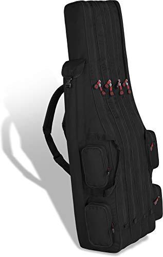 Rutentasche Rod Case Angelkoffer Futteral mit 3 Ruten-Fächern, Verschiedene Längen wählbar - stark wasserabweisender Fishing Rucksack Farbe Black 4 Innenfächer Größe 160 cm