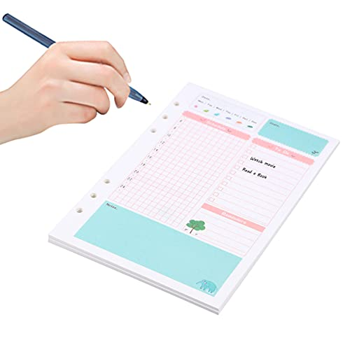 Cabilock 1 Pieza Colorida Tamaño A5 6 Anillos Hoja Suelta Manual de Relleno de Papel Recarga para Cuaderno Espiral Bloc de Notas Planificador Diario (Patrón de Plan Diario)