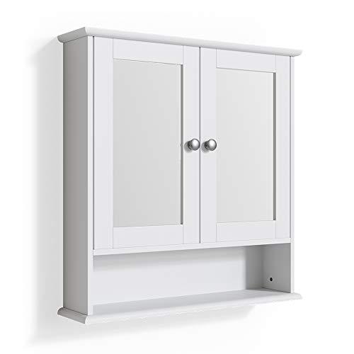 Vicco Wandspiegel Bianco Badspiegel mit Ablage 2 Türen 58x56cm Hängespiegel Spiegel für Badezimmer im Landhausstil (Weiß)