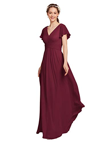 AW BRIDAL Chiffon Bridesmaid Dress with Sleeves V-Neck Wedding Maxi Evening Party Dress Long Prom Gowns, Burgundy, US14