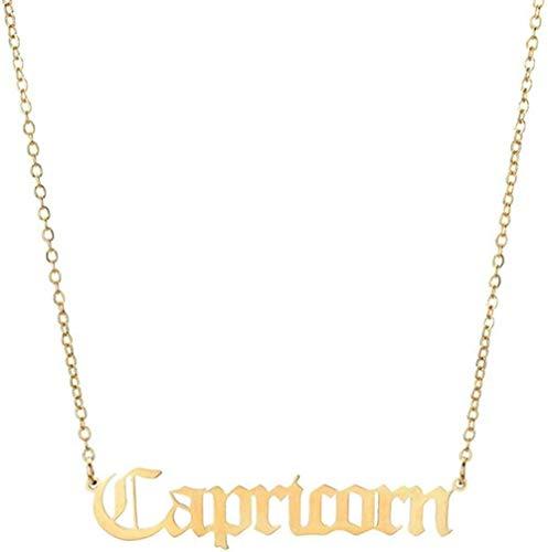 12 constelación horóscopo astrología Zodiaco Collar Mujeres Plata Oro Letra Collar Hombres joyería niñas Regalo