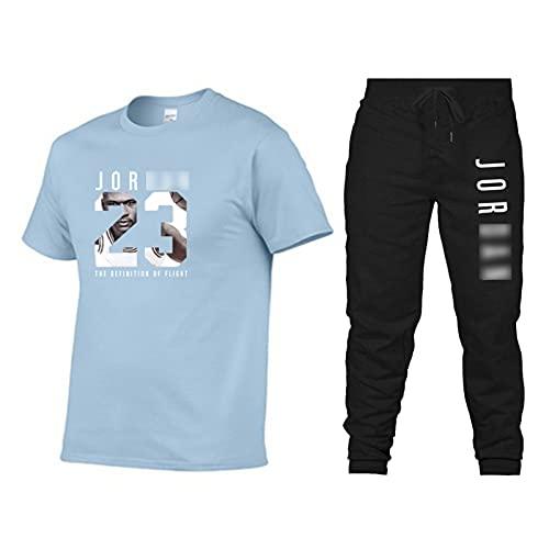 Jersey de baloncesto para hombre, 2 piezas (camiseta + pantalones), Jordan Letter 23 # Casual Gym Sport Clothes, manga corta, ropa deportiva para primavera y otoño azul-XXL