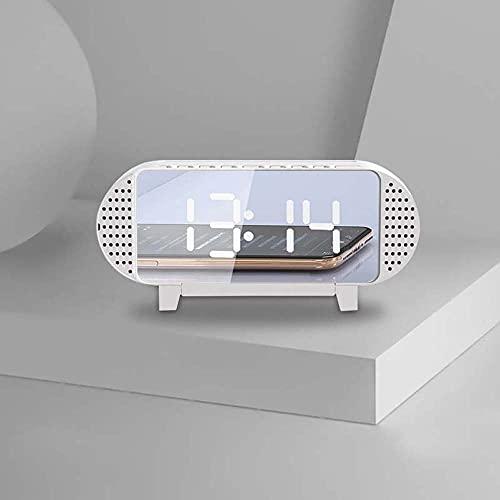 TAOJIN Altavoz con Sonido de Reloj Despertador, Altavoz Bluetooth de subwoofer con Espejo HD con atenuación Bluetooth, Reproductor(White)