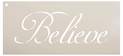 Believe Stencil by StudioR12 | Reusable Mylar Template | Paint Horizontal Wood Sign | Craft Rustic Farmhouse Home Decor | DIY Inspiration Faith Cursive Script Word Art Gift Select Size - Small - XLG