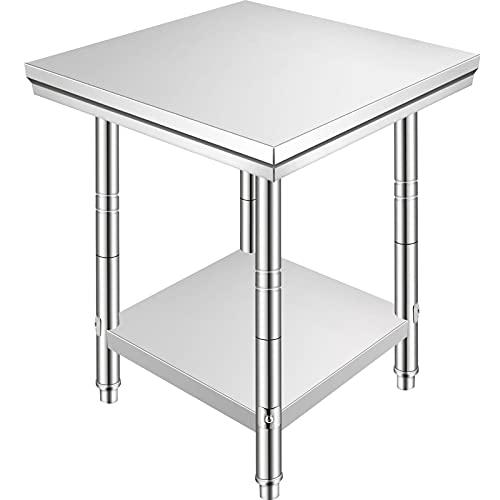 VEVOR Tavolo Da Lavoro Per Cucina 60x60x88cm Tavolo da Lavoro Professionale in Acciaio Inox Piano di Lavoro Professionale a 4 Ruote